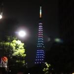 オリンピックバージョンの東京タワーのライトアップ