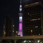 東京スカイツリーピンク色の特別ライティング