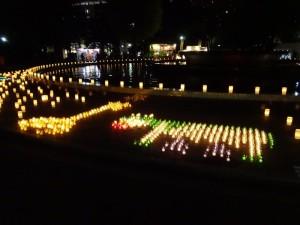 冬の夜に様々な色で彩られたロウソクのライトアップ、「HIBIYA AKARI TERRACE 2016」12
