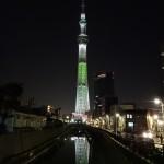 クリスマス限定ライティングの東京スカイツリー(上)