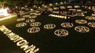 今年も芝生公園でメッセージ演出されました、「和紙キャンドルガーデン -TOHOKU 2015-」