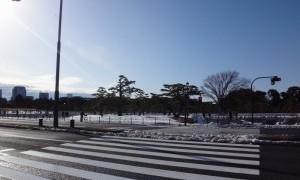 雪景色の二重橋を見る