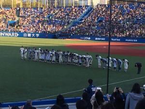 明治神宮外苑創建90年記念奉納試合「東京六大学選抜 VS 東京ヤクルトスワローズ」を観戦してきました。14