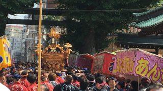 御神輿も見れて祭りの雰囲気も楽しめた、「湯島天神大祭」